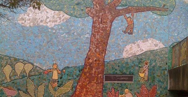 Children playing and gardening - Grattan School mural